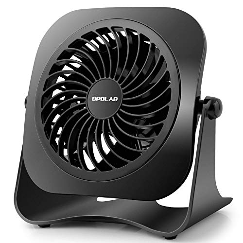 OPOLAR 4 Inch Mini USB Desk Fan, 2 Speeds, Lower Noise, USB Powered, 360° Up and Down, 3.8 ft Cable, Powerful Black Fan for Home and Office