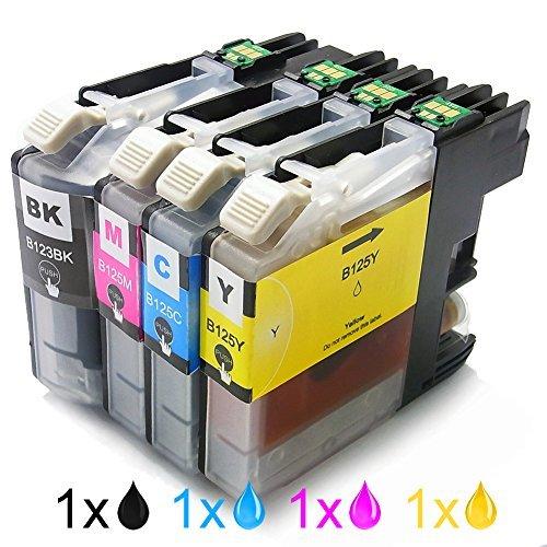 Genérico Cartucho de tinta compatible para usar en lugar de BROTHER LC123BK LC125C LC125M LC125Y ( 1x Negro, 1x Cian, 1x Magenta, 1x Amarillo, 4 pack de)