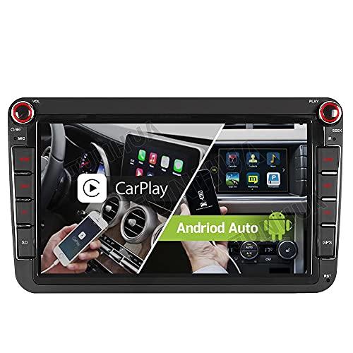 Junhua Kompatibel mit Autoradio GPS Navigation VW Passat B6 Golf 5 6 Touran Tiguan Transporter T5 Polo EOS Skoda Seat Unterstützt 2GB 32GB Carplay Android Auto dual FM Tuner WiFi BT 5.0 Mit Taste