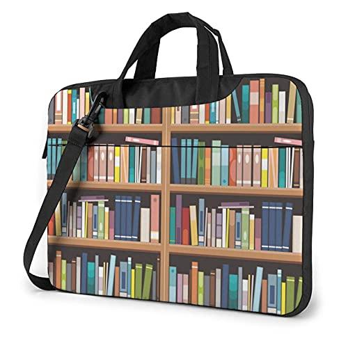 Bolsa para portátil de 13-15,6 Pulgadas Estantería de la biblioteca Bolso de Hombro para portátil Bolso de Hombro Elegante Ordenador Portátil