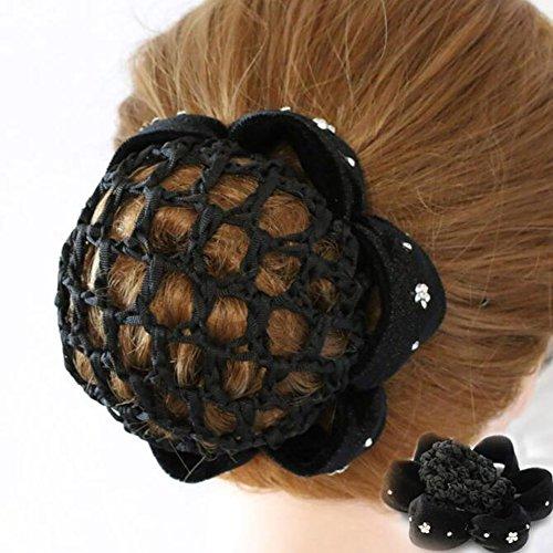 1 pieza negro mujeres moño cubierta Snood ballet danza lunares pelo redecilla accesorios para el pelo