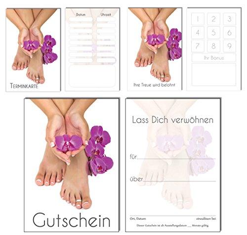 150 Teile Set SPARPREIS - je 50 Bonuskarten, Terminkarten, Gutscheine Orchidee Pediküre Fusspflege Nails Nagelstudio