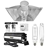 iPower 1000W HPS MH Digital Dimmable Ballast Horticulture Grow Light System Kits Cool Tube Reflector Set XXL Wing with 7-Day Timer, 1 Pair of Hanger Rope