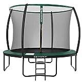 songmics trampolino, tappeto elastico da 305 cm (10 piedi) per giardino con scaletta, rete di sicurezza, pali ad arco ricoperti, test di sicurezza tÜv rheinland, nero e verde scuro str102c01