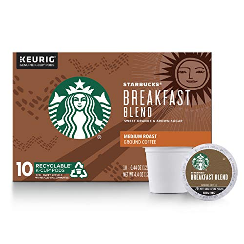 Starbucks Medium Roast K-Cup Coffee Pods — Breakfast Blend for Keurig Brewers — 6 boxes (60 pods total)