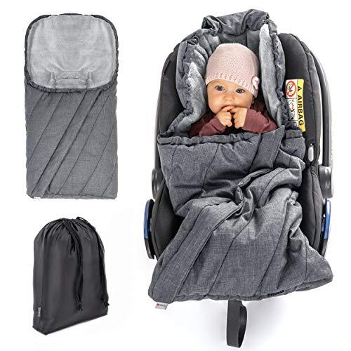 Zamboo Fußsack 3M für Babyschale - Baby Winterfußsack mit Thinsulate Füllung, warme Mumien Kapuze, Tasche - Grau (Pro)