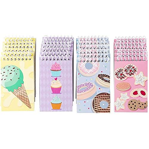 Blue Panda Spiralnotizblock (24 Stück) - 4 Motive mit Desserts wie Kekse, Cupcakes, Donuts - Liniert - Für Tagebuch, Notizen, To-Do-Listen - Mehrfarbig, 7,6 x 12,7 cm
