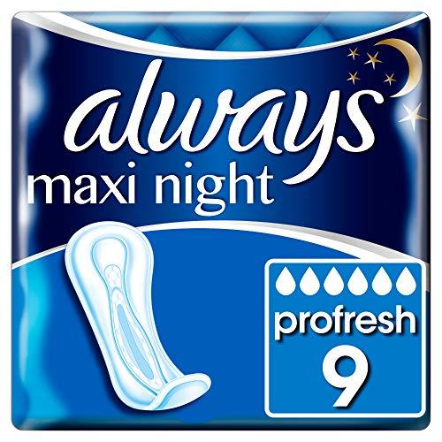 Always Maxi Profresh Binden Damen Maxi Night (9 Damenbinden) Neutralisieren Gerüche, Super Fit Und Saugfähig, Einzeln Verpackt