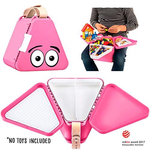 teebee – Kinderkoffer für Spielzeug und Reise I Organizer, Brotdose und Spielzeugkiste für Auto und Flugzeug I Kreativ Spielen im Autositz und unterwegs I für Jungen und Mädchen | Pink
