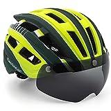 EASTINEAR Casco MTB Hombre Casco Bicicleta Ligero para Adulto con Visera Magnética Usuarios de Gafas Luz Trasera LED Amigable para Protección 57-61CM (Verde Amarillo)