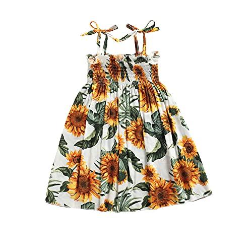 EpicLife Vestido de verano para niñas y bebés, vestido de girasol, casual, falda de playa sin mangas, falda de una sola pieza, vestido halter con lazo, blanco, 5-6 Años