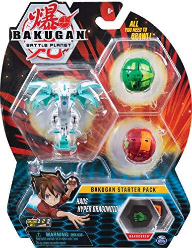 Bakugan 6058563 - Starter Pack mit 3 Bakugan (Ultra Haos Evo Dragonoid, Basic Ventus Mantonoid, Basic Pyrus Skorporos)