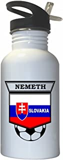 Szilard Nemeth (Slovakia) Soccer White Stainless Steel Water Bottle Straw Top