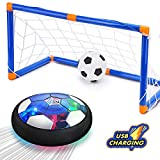 T.G.Y Kids Toys Hover Soccer Ball with Goals Age 3,4,5,6,7,8,9-12 Year Old Rechargeable Air Power Football Sports Ball Game Colorful LED Light & Foam Bumpers Indoor Outdoor Air Soccer Disk Toy