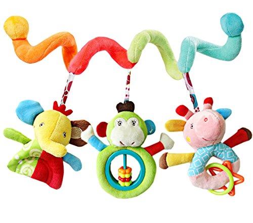 GEMVIE Jouet de Lit Bébé en Peluche Jouet Animal de Poussette Berceau Landau Poupée Spirale Suspendu Décoration Éducatif pour Bébé 0-2 ans (Multicolore)