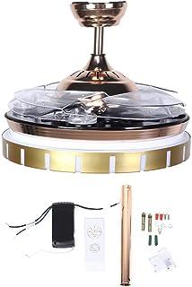 Luz de Ventiladores de Techo, 42 Pulgadas AC100-240V Estilo Moderno Láminas retráctiles Ventiladores de Techo con luz de atenuación LED de 3 Colores y función de reproducción de música Bluetooth