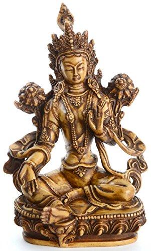BUDDHAFIGUREN Statue bouddhiste - Statue Tara verte - 20 cm beige - Résine