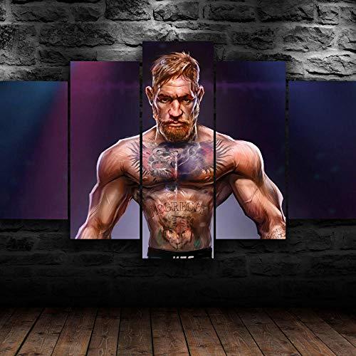 5 Piezas Cuadros Modernos Impresión De Imagen Artística Digitalizada Lienzo Decorativo para Tu Salón O Dormitorio UFC Conor MC Greger Beauty Regalo 150 X 80 Cm.