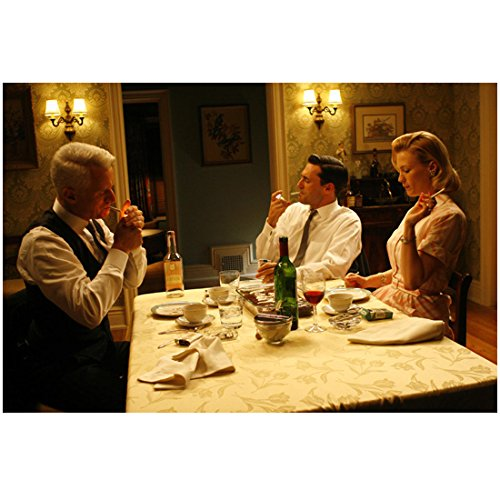 Mad Men Don Draper, Roger Sterling, and Betty Francis Smoking At Dinner Table 8 x 10 Photo