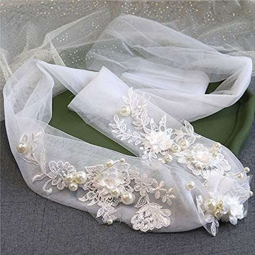 Women Sales results famous No. 1 Lace Pearls Short Wedding Veil Bridal Ivory Cathedral Head