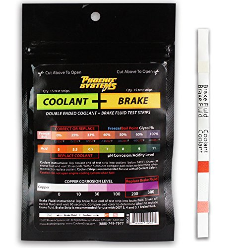 Phoenix Systems 8006-B Double-Ended Coolant + Brake Fluid Test Strips (15 foil wrapped test strips), 1 Pack