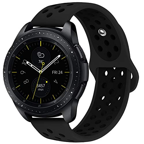 KADES Galaxy Watch 42mm Band, Galaxy Watch Active Band, 20mm Replacement Strap with Quick Release Pin Compatible for Ticwatch E, Amazfit Bip Smart Watch (Black Black)