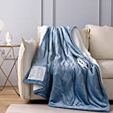 CORIWELL Electric Heated Blanket Throw Twin Size 62'x 84' Flannel & Sherpa Reversible, ETL Certification 4 Heat Settings with 10hrs Timer Auto Shut Off, Machine Washable Fast Heating Blue Blanket