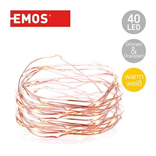 Emos LED Lichterkette Typ Nano Kupferdraht 9m, 40 LEDs, 230V mit Stecker, mit Timer-Funktion, geeignet für Innen & Aussen, Wasserdicht IP44, Farbe: warmweiß