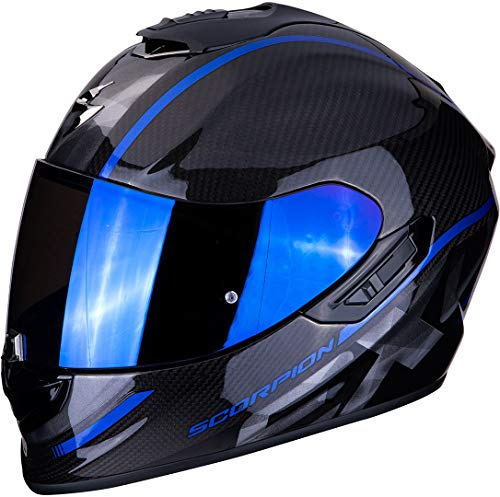 SCORPION Casque moto EXO-1400 AIR CARBON GRAND Blue, Noir/Bleu, XL