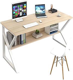 Plasaig Bureau d'Ordinateur Compact et Étanche avec Clapier, pour les Petits Espaces, Pieds de Table en Forme de K, en Boi...