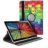 kwmobile Hülle kompatibel mit Huawei MediaPad T3 10-360° Tablet Schutzhülle Cover Hülle - Regenbogen Würfel Mehrfarbig Grün Blau