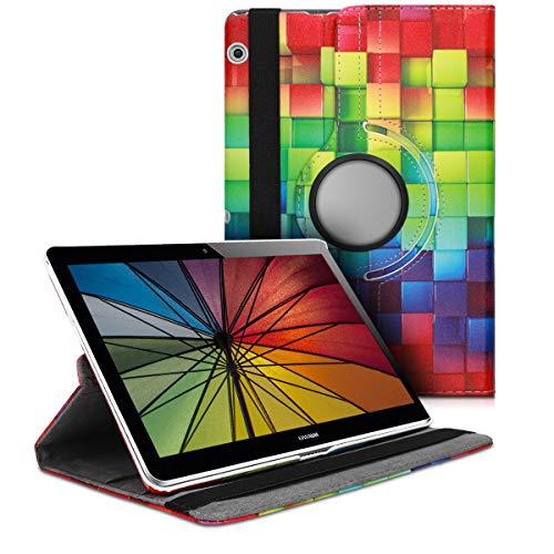 kwmobile Cover Compatibile con Huawei MediaPad T3 10 - Custodia per Tablet Rotazione 360° Stand Similpelle - Cubi Multicolore Verde Blu