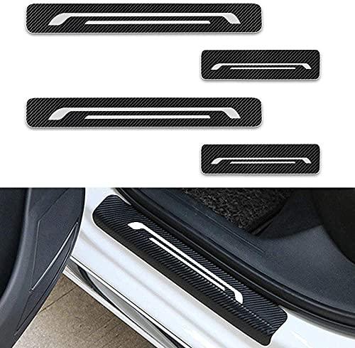 4 piezas de fibra de carbono para puerta exterior de coche, protectores de patas para Edge Ecosport Escape F-250 F-350 F-450, protector de arañazos, cubierta de umbral, pedal, antiarañazos,White