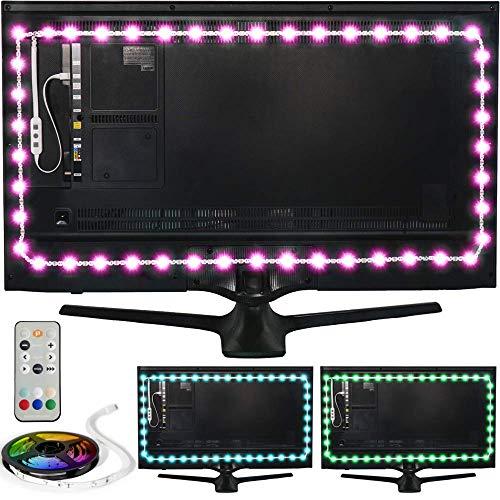 Luz de Fondo en Color Luminoodle para TV - Mando a Distancia & Controlador Incorporado - Tira Adhesiva de luz Ambiente LED RGB con alimentación USB para Pantallas Planas LCD y monitores PC (4 Metros)