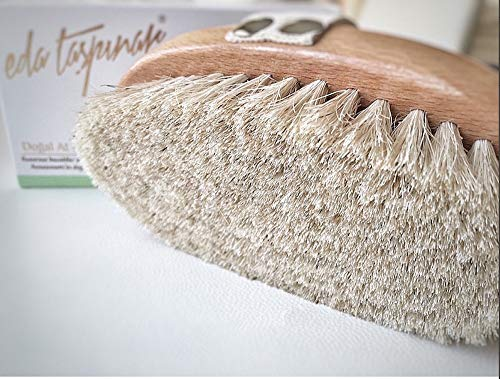 EDA TASPINAR Horse Hair Brush 100% Natural Horsetail Bristle Ideal for Dry Use to Stimulate Blood Circulation and Reduce Cellulite Designed in New York