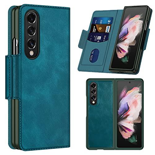 Vizvera kompatible Samsung Galaxy Z Fold 3 5G Hülle, Galaxy Z Fold 3 5G Lederhülle Magnetisch Saugen, Hülle langlebige Schutzhülle für Samsung Galaxy Z Fold 3 2021 5G-Cyan