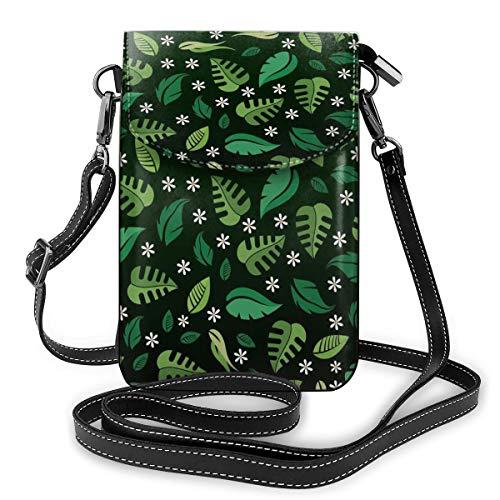 Bolsos cruzados de piel sintética con diseño de hojas de tortuga y margaritas blancas, tamaño pequeño, para mujer, con correa ajustable para la vida diaria