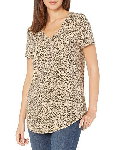 Amazon Essentials Women's Relaxed-Fit Short-Sleeve V-Neck Tunic, Mini Leopard, Large