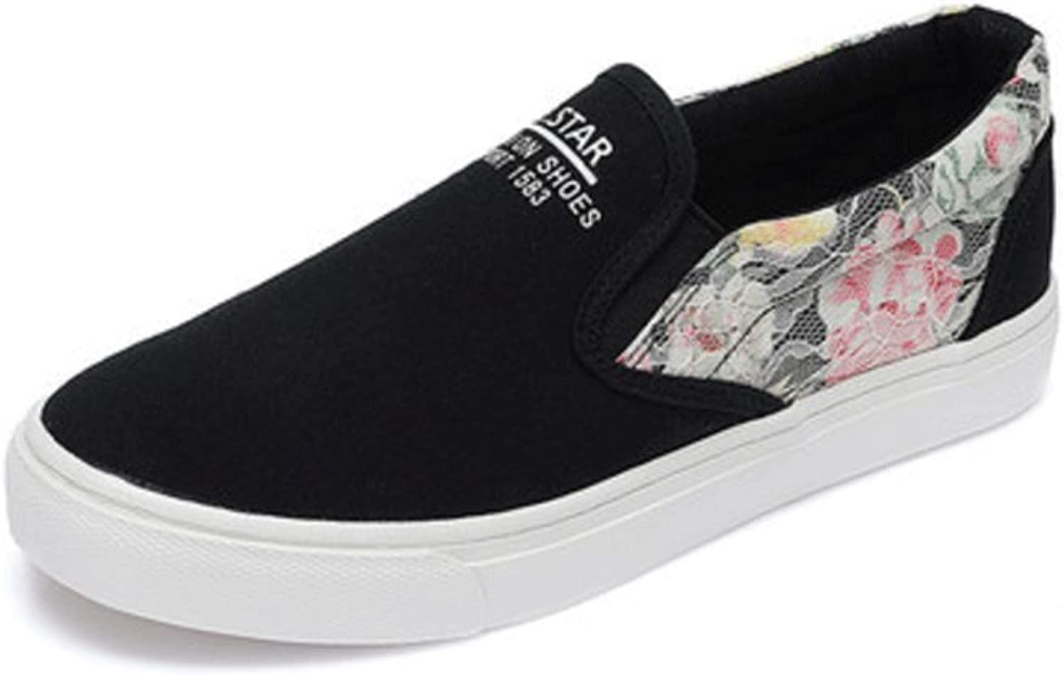 Student breathable summer canvas shoes fashion flat shoes casual board shoes ladies shoes ( color   Black , Size   38 )