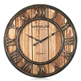 SWIZMIUART Wood Farmhouse Wall Clock Roman Numerals 13 Inch Silent Non Ticking Battery Operated Rustic Wall Clocks for Living Room Decor,Home Kitchen,Office,Bedrooms(Brown)
