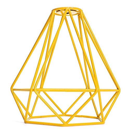 TOOGOO Caja de lampara luz de techo pendiente de forma de diamante de metal vintage Decoracion pantalla de lampara - Amarillo