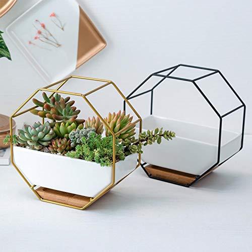 Pot de Fleur Succulent octogonal Simple - Support de Fleur géométrique Pot de Fleur en céramique - Cadre de Fer Plateau en Bambou pour la décoration de la Maison