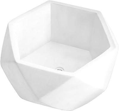 MyGift 8-inch Modern Geometric White Cement Succulent Planter Bowl