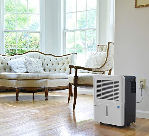 Ivation 50-Pint Energy Star Dehumidifier - Compressor Dehumidifie for Spaces Up to 3,000 Sq Ft - Includes Programmable Humidistat, Hose Connector, Auto Shutoff/Restart & Washable Filter (50 Pint)