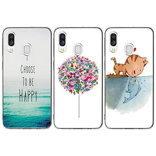 iAdvantec 3 x Funda para Samsung Galaxy A40, Carcasa Silicona Transparente Protector TPU Teléfono Case, Airbag Anti-Choque Ultra-Delgado Anti-arañazos Caso, Globos de Colores