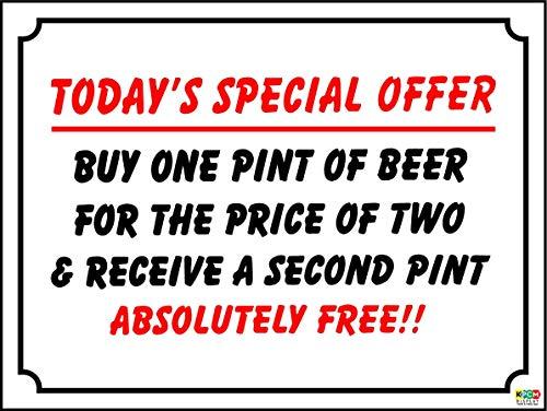Lustiges Schild Sonderangebot Bier, Wein Bar, Pub, Social Club, Kunststoff/Aufkleber 30 cm x 45 cm