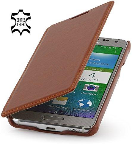 StilGut Book Type Hülle, Hülle aus Leder für Samsung Galaxy Alpha, Booklet case, Cognac