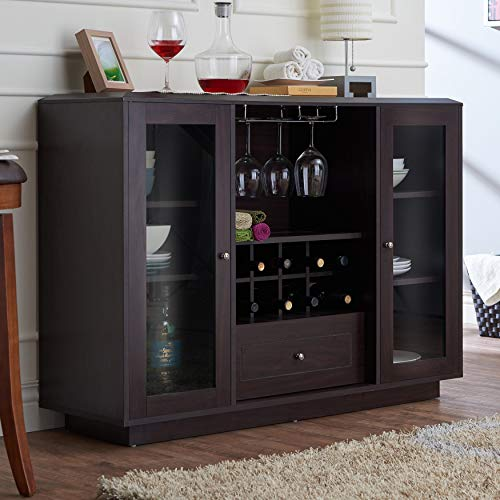 Espresso Multi-Storage Dining Buffet Brown Casual MDF Metal Veneer Finish Glass Doors