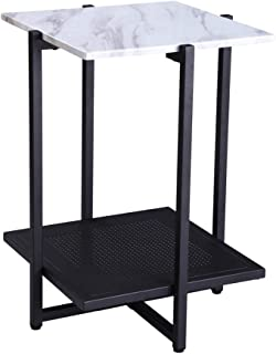 FIVEGIVEN White Accent Side End Table Modern Night Stand for Bedroom with Storage Shelf, 24.4 Inch