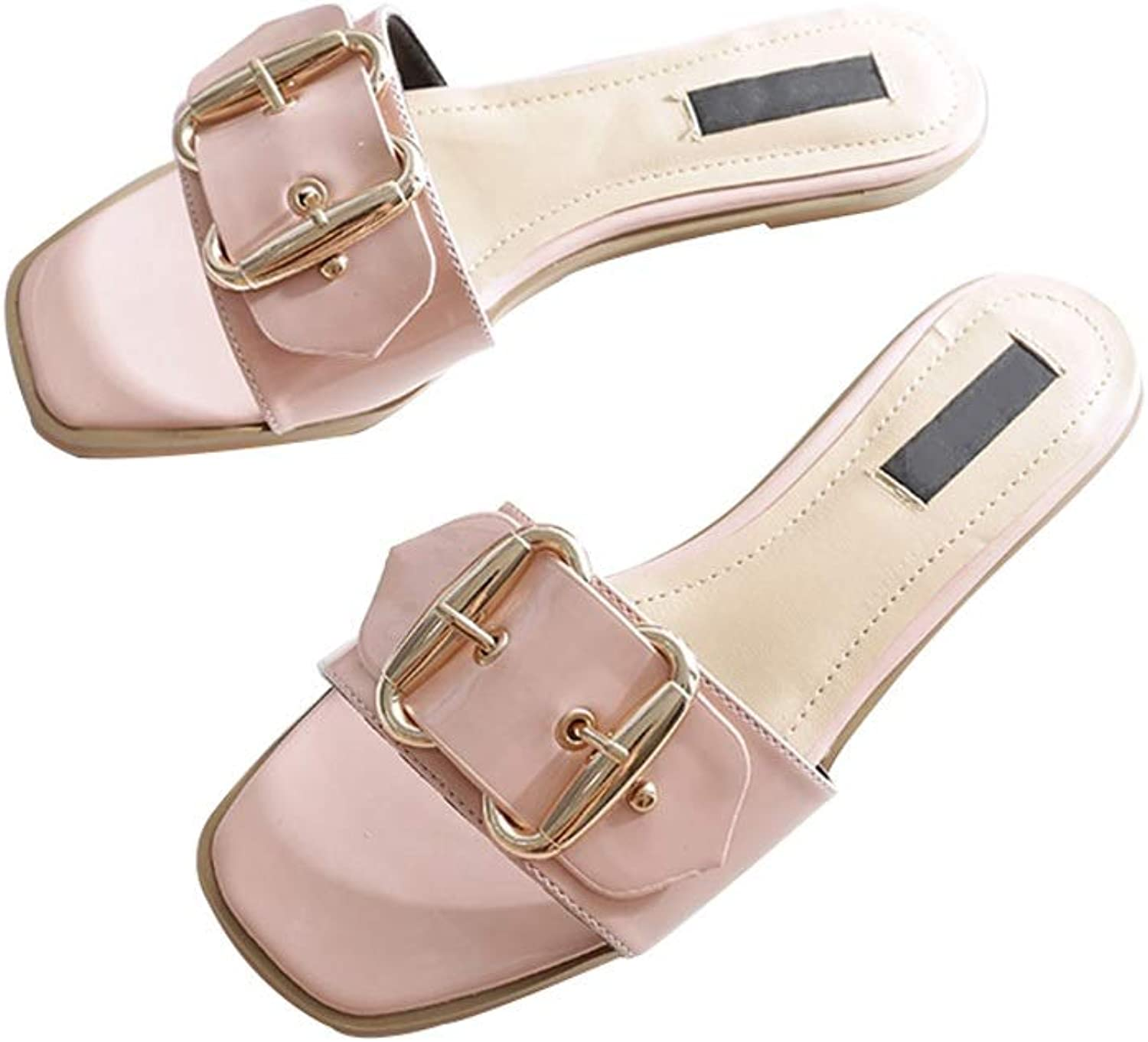 Ailj Women's Summer Sandals, Large Size Flat Sandals with Metal Buckle Outdoor Flat Slippers 2 colors